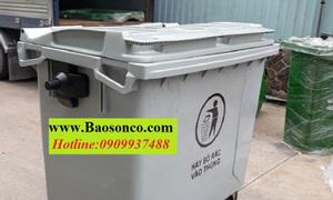 Xe đẩy rác thải công nghiệp 660lít, 4 bánh xe