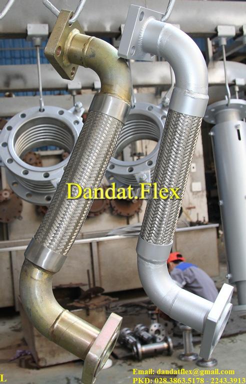 Khớp nối mềm có lưới inox 304, khớp nối mềm inox lắp ren chịu nhiệt