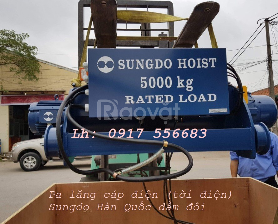 Tời điện Sungdo hàn quốc 2 tấn, 3 tấn, 5 tấn, 7.5 tấn, 10 tấn dầm đôi