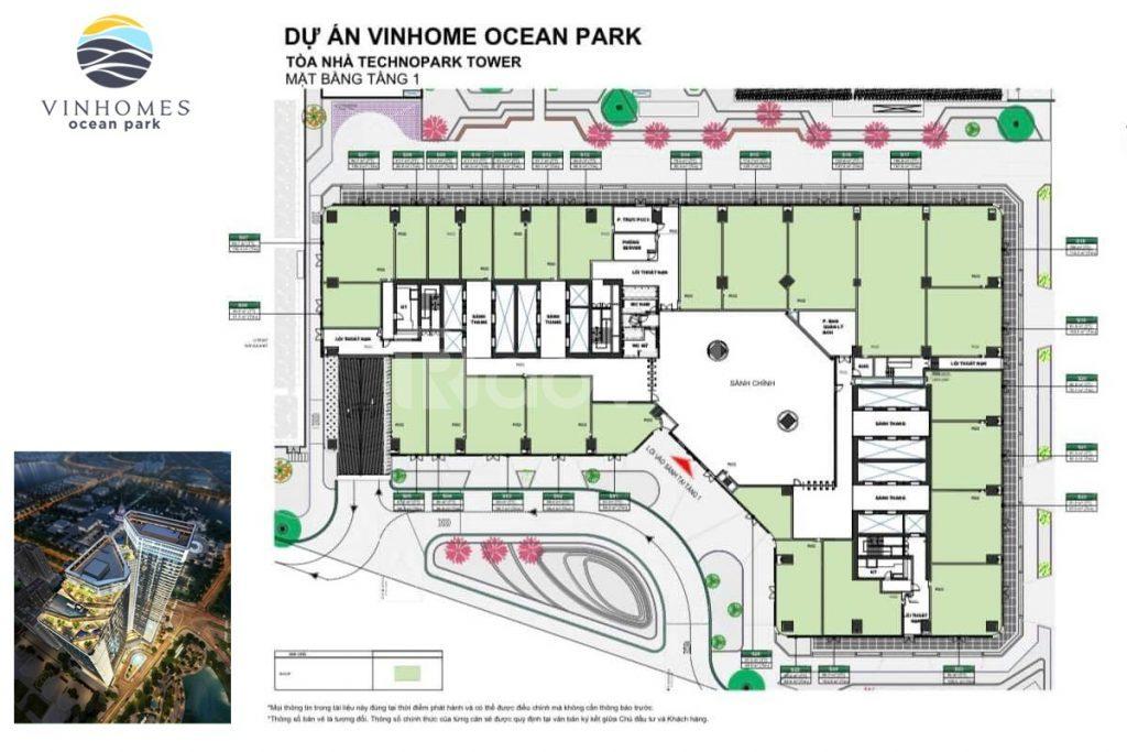 Bán shophouse chân đế tòa Technopark Vinhomes Ocean Park, dt 42 94m2