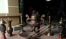 Đỉnh thờ cúng đồng vàng nguyên chất mẫu sòi dán, đỉnh nến lọ hoa
