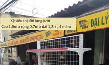 Kệ siêu thị đôi 4 mâm, cao 1.5m, dài 1.2m, rộng 0.7m