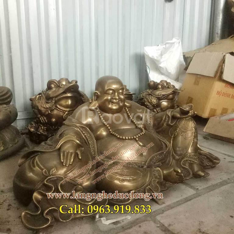 Tượng Phật Di Lặc tựa bao bố dâng tiền cao 32cmx67cm