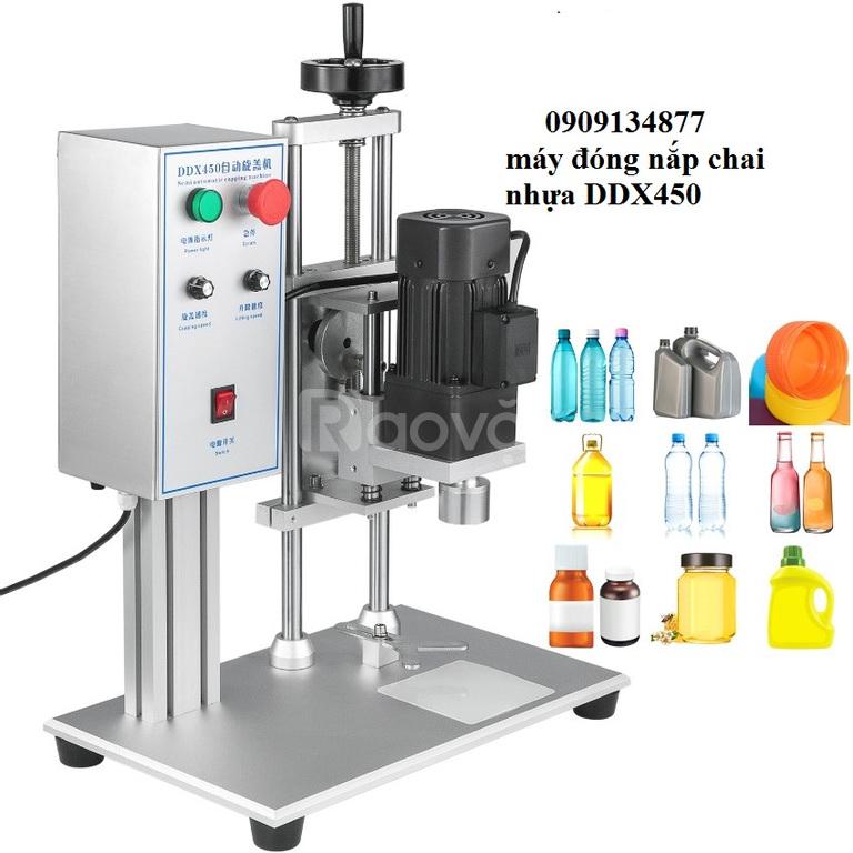 Máy đóng nắp chai nhựa, máy siết nắp chai bán tự động DDX450