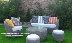 Sofa nhựa giả mây sân vườn, bàn ghế ngoài trời