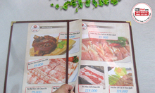 Bìa menu 2 lá nhựa A4, viền nhiều màu