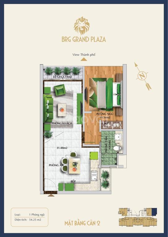 Độc quyền căn 1PN 54m2 dự án PBRG 16 Láng Hạ view đẹp, giá tốt, ở ngay