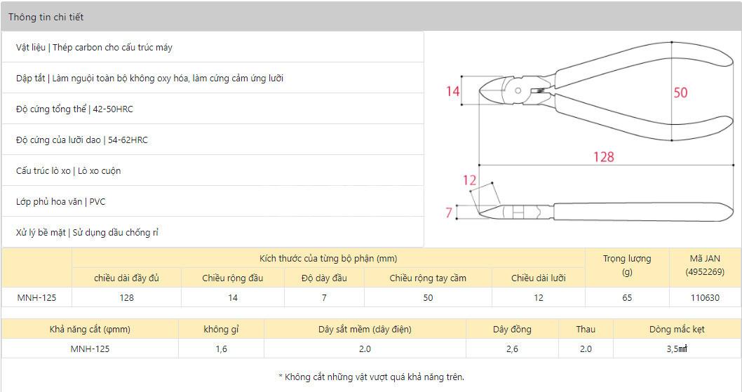 Kìm cắt điện tử loại cứng Tsunoda TTC MNH-125