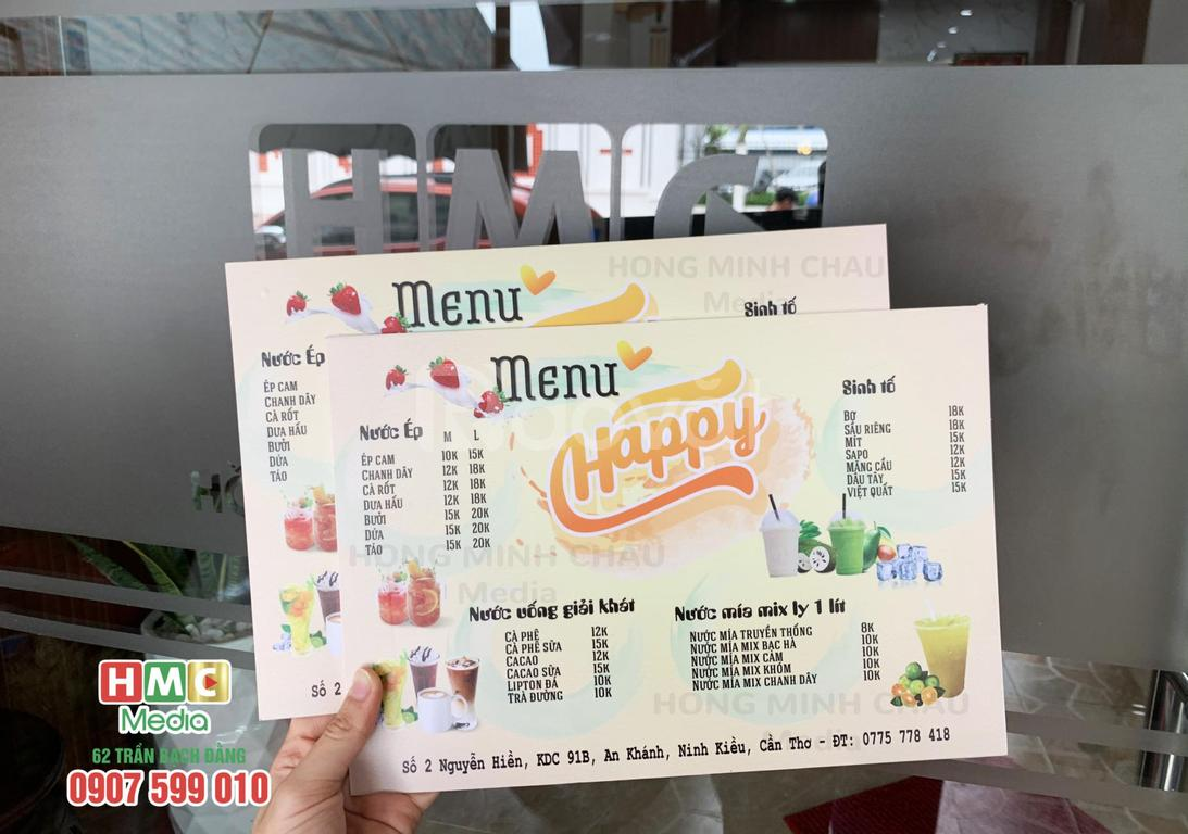 In tờ rơi, menu giá rẻ