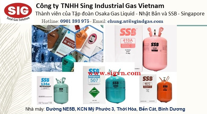 Gas lạnh SSB Singapore R134a, R410A, R404A, R407C, R290, R600, R32