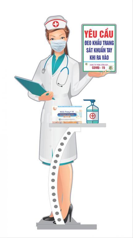 Mô hình cô Y Tá đón khách quảng cáo thương hiệu và nhắc nhở chống dịch