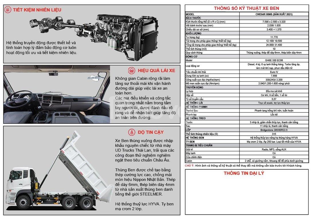 Giá xe ben UD Quester 330HP 3 chân thùng vuông