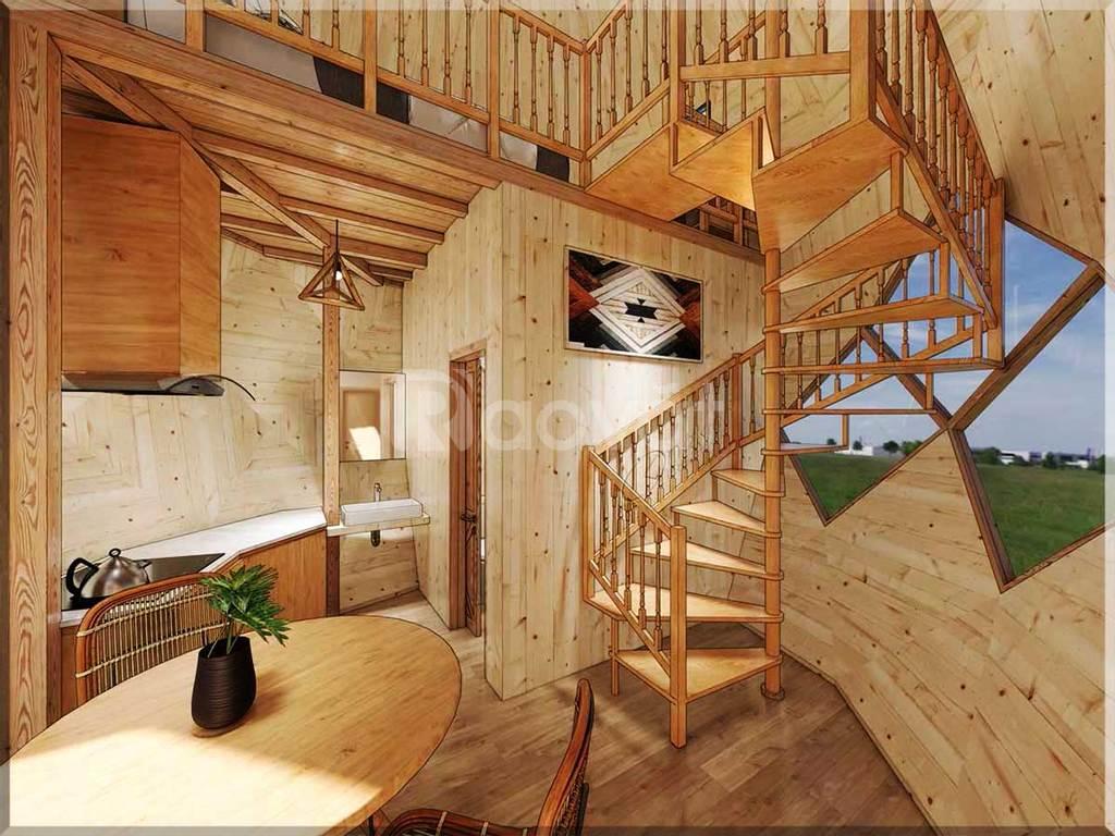 Nhà gỗ lắp ghép búp sen 35m2 cho dịch vụ du lịch nghỉ dưỡng