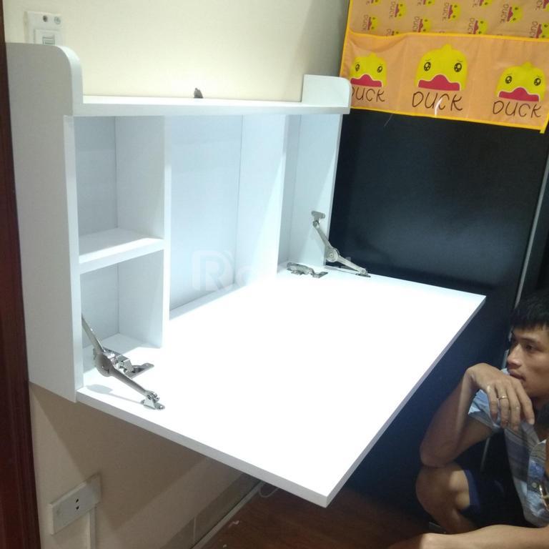 Bàn học ngăn tủ hộp cho bé, thông minh gấp gọn treo tường