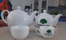 In logo bộ ấm trà tặng khách ở Quảng Ngãi, in cốc sứ, chén sứ