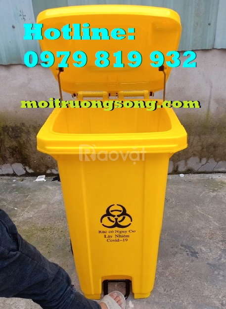Thùng đựng rác y tế 120L đạp chân vàng