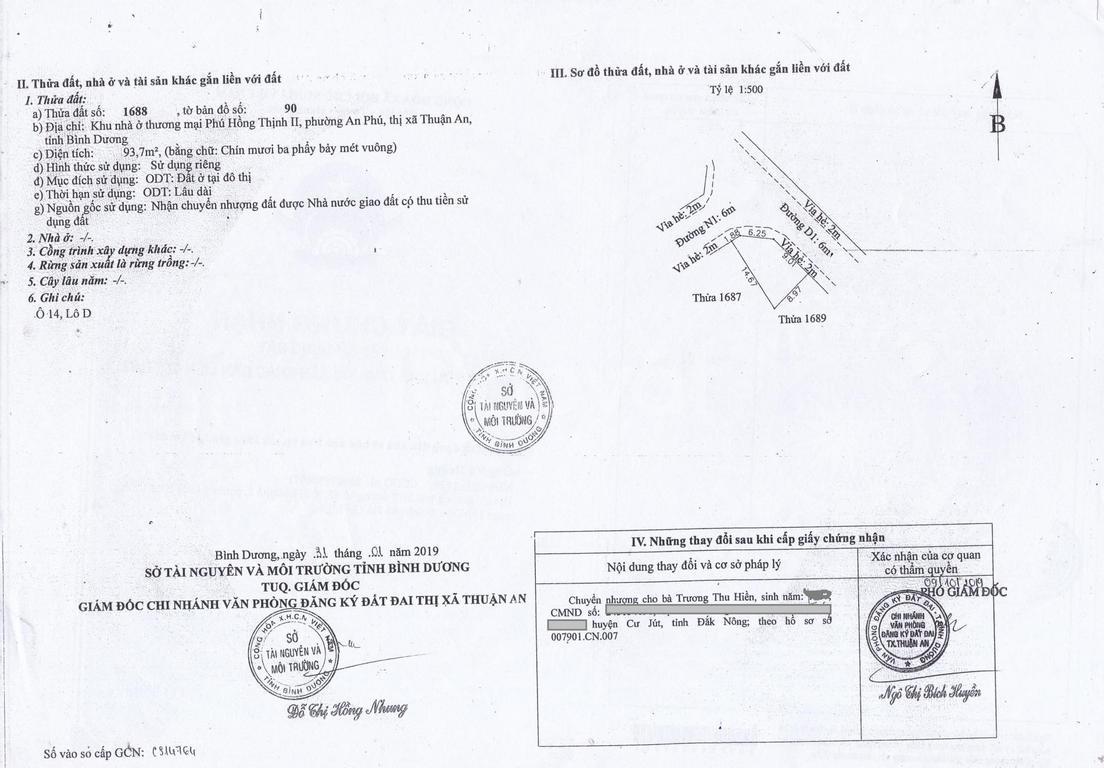 Đất sổ đỏ 93.7m2, An Phú, TP Thuận An, chính chủ