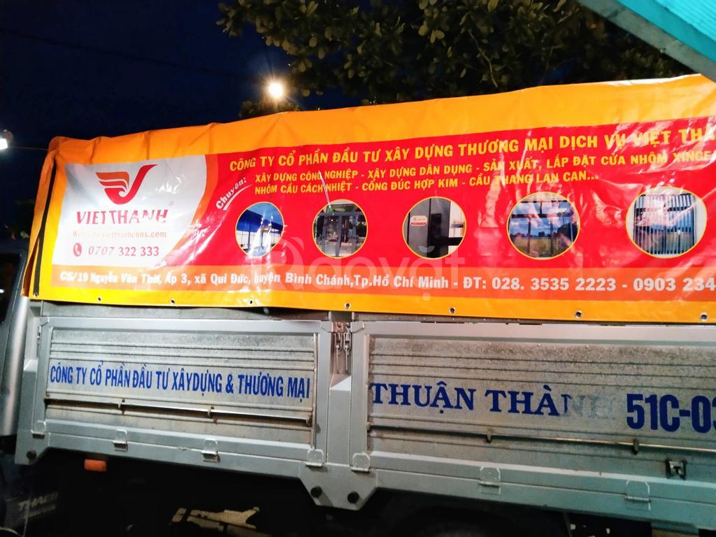 May bạt và dán quảng cáo trên bạt xe tải giá rẻ chuyên nghiệp