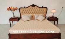 Giường ngủ tân cổ điển bọc da bò Ý