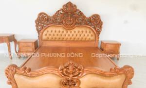 Giường tân cổ điển phong cách Hoàng gia Châu Âu bọc da bò Ý dát vàng