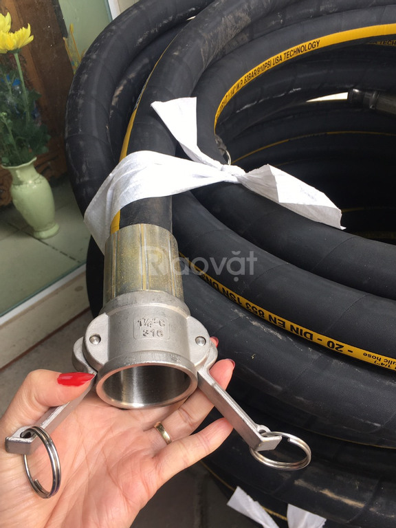 Ống cao su tuy ô thủy lực phun vữa chát tường phi 32 có bấm khớp nối