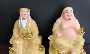 Tượng Ông Địa Thần Tài màu vàng đế tròn - Đồ Thờ Lộc Phát