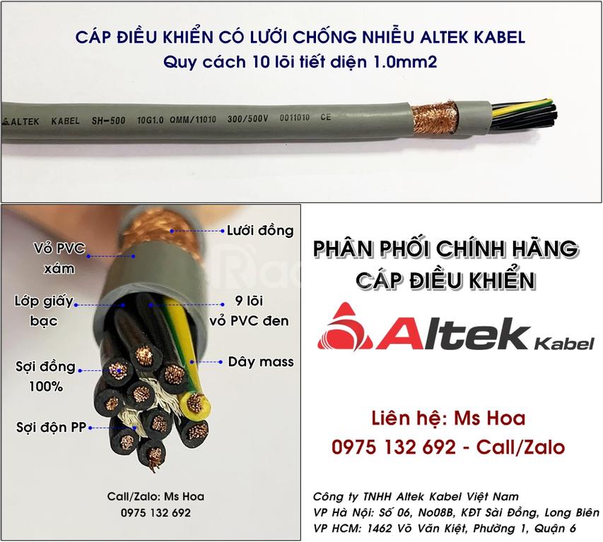 Cáp tín hiệu, cáp điều khiển 10x0.5, 10x0.75, 10x1.0, 10x1.5mm2