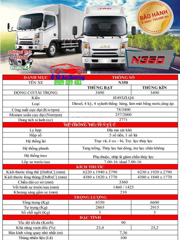 Xe tải JAC N350 tải trọng 3490kg, nhận xe