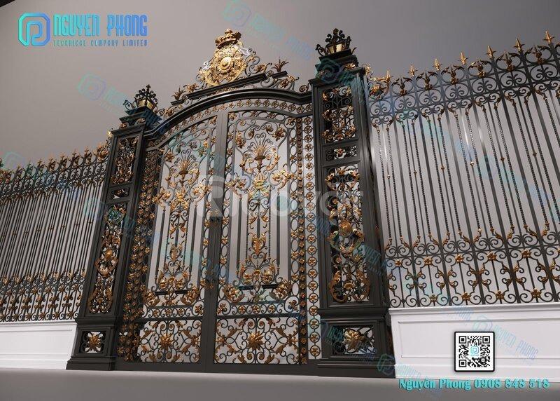 Cổng biệt thự đẹp, cổng sắt uốn mỹ thuật cao cấp với giá tốt