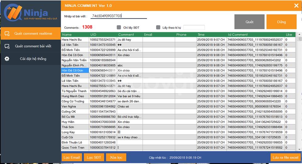 Phần mềm quét data livestream, hỗ trợ chốt đơn