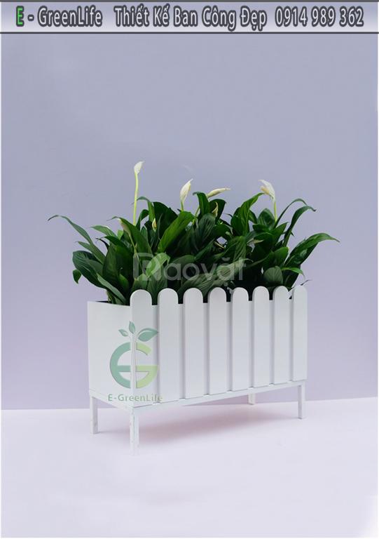 Chậu hàng rào Composite trắng