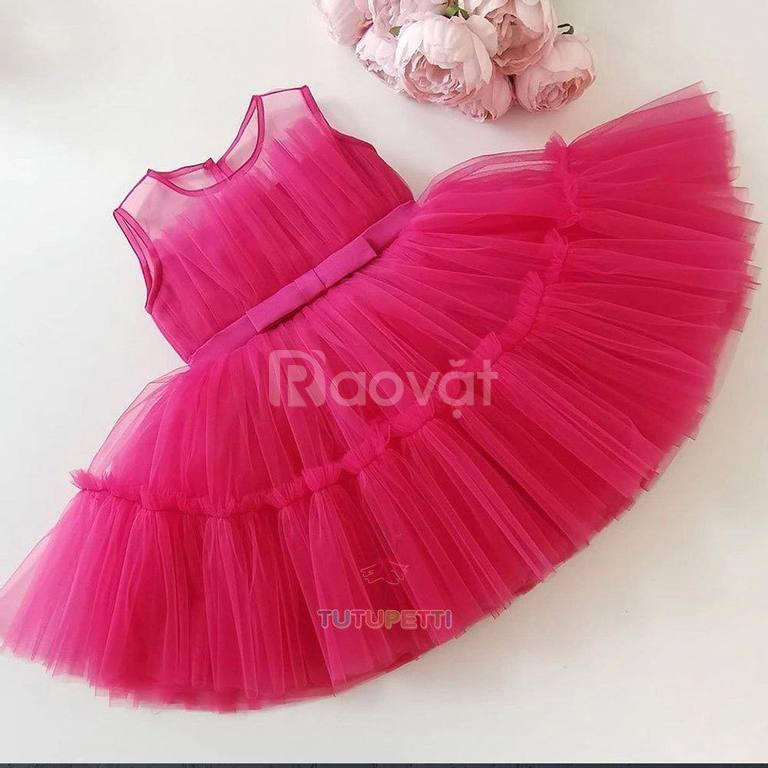 Đầm công chúa dự tiệc màu đỏ cho bé gái