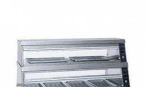 Tủ inox trưng bày giữ nóng thức ăn 2 tầng