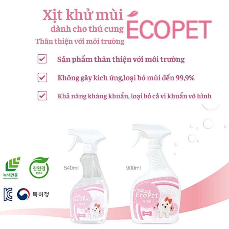 Xịt khử mùi thú cưng chó mèo Ecopet 540ml