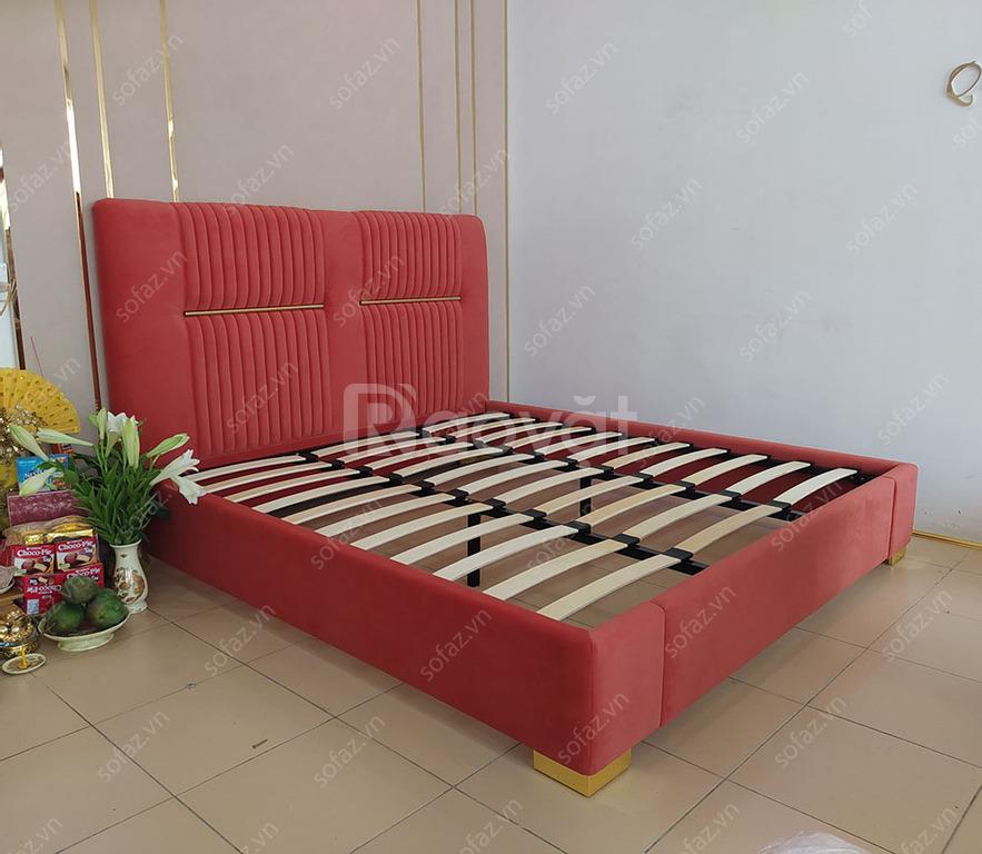Giường sofa bọc nỉ decor inox