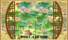 Gạch tranh hoa sen ốp tường 3d HP09S
