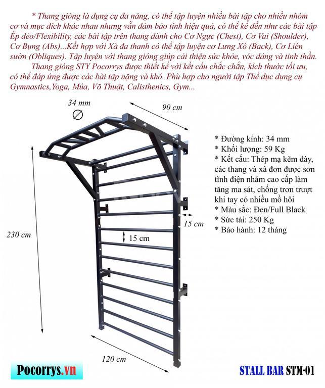 Thang gióng kết hợp xà đa thanh Stall bar Pocorrys STM-01