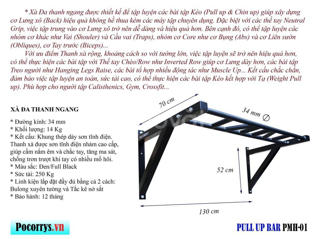 Xà  đa thanh ngang gắn tường - Pull up bar Pocorrys PMH-01