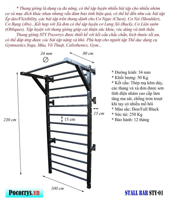 Thang gióng - Stall bar Pocorrys STY-01 (Yoga, Gymnastics, Gym)