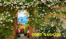 Gạch tranh giàn hoa hồng leo 3d HP0878