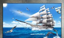 Gạch tranh thuyền buồm phòng khách HP0936