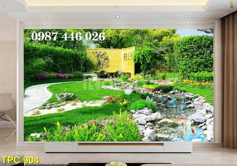Gạch tranh 3d phong cảnh sân vườn HP037