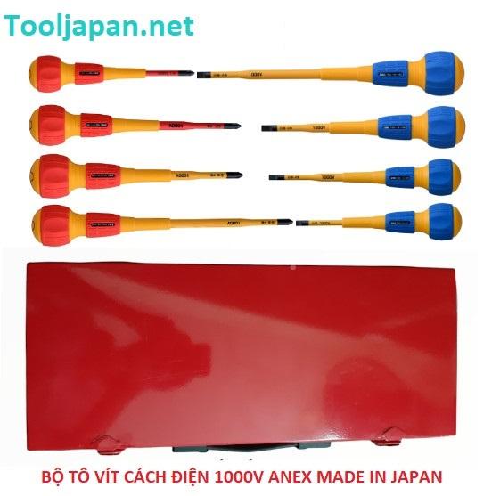 Bộ tô vít cách điện 1000V 8 chi tiết  ANEX Japan HXT-7908AN