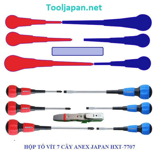 Bộ tô vít 7 chi tiết Anex Nhật Bản HXT-7707