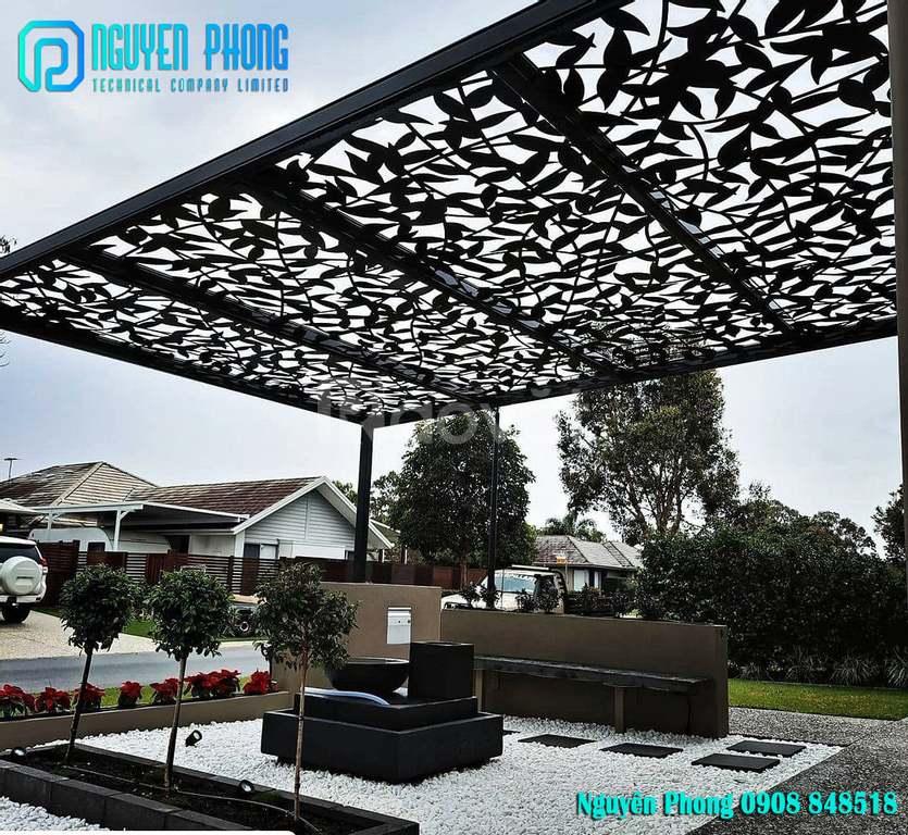 Khám phá 20 mẫu mái hiên mái đón hoa văn sắt CNC đẹp sáng tạo cho sân