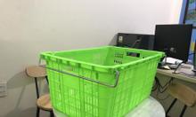Sọt nhựa HS011, sọt quai sắt, rổ nhựa quai sắt