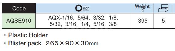 Bộ lục giác bi cao cấp hệ inch 9 chi tiết AQSE910 Asahi Japan