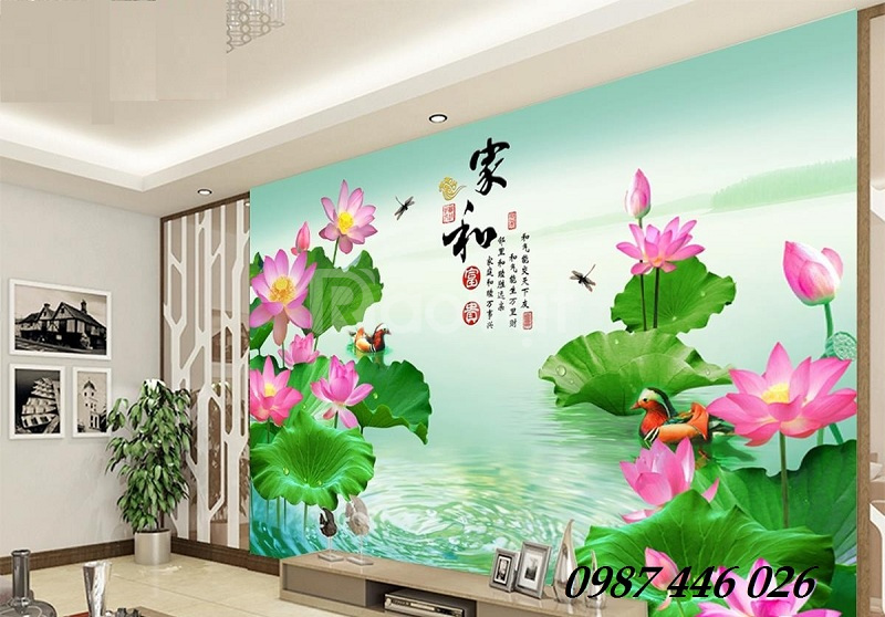 Tranh gạch bông hoa sen 3d