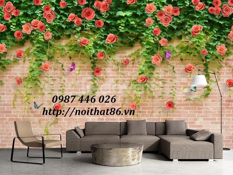 Gạch tranh giàn hoa leo tường 3d HP789