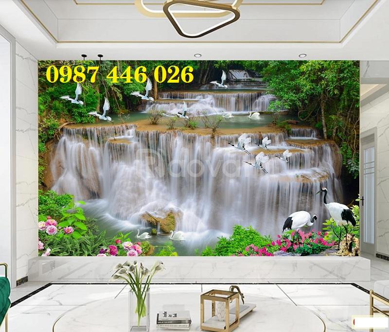 Gạch tranh phong cảnh thác nước phòng khách HP889